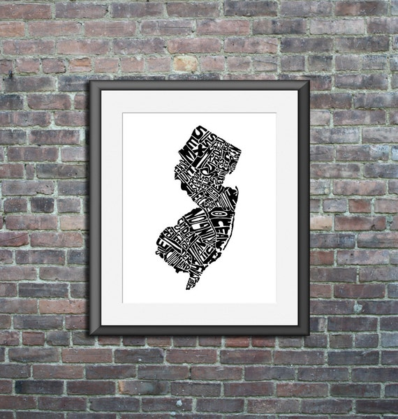New Jersey typography map art print 8x10 customizable personalized custom state poster wall decor engagement wedding housewarming gift