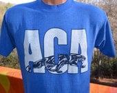 vintage tee shirt 80s ACA panthers high school royal blue soft thin t-shirt Medium wnc asheville