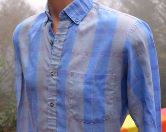 vintage 80s shirt PLAID gray blue button down preppy hipster Small XS california