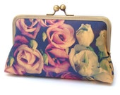 Clutch bag, silk purse, pink roses, wedding purse, flower clutch, bridesmaid gift, Lisianthus BOUQUET