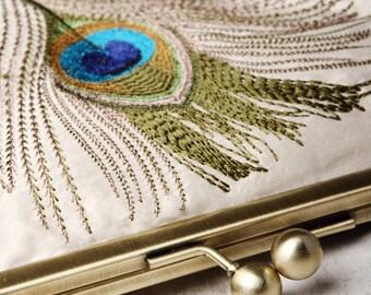 Peacock feathers clutch bag, customized silk purse, teal turquoise silk, peacock wedding, custom bridesmaid gift, gift box