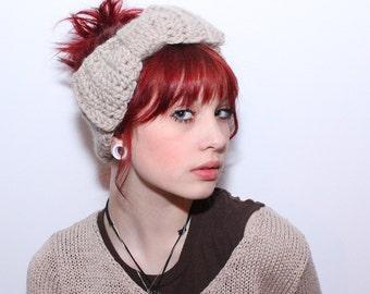 LAST ONE headband chunky bow ear warmer turban wool natural ivory