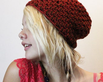 LAST ONE SALE vegan tuque beanie red cedar brown