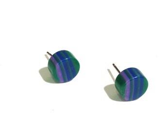 Green Stud Earrings | Striped Studs | Green Purple & Blue vintage lucite post earrings