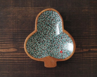 Club Shaped Dish : Hand-Painted Blue w/Red Accent Dots