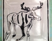 Large Hand Painted Black and White Porcelain Moose Plate