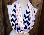 Fall scarves, Orange & Black infinity scarf, Navy Scarf, Halloween scarves, Denver, Polk-a-dots Women's Scarf, Tennesee orange