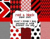 Printable Red & Black Digital Scrapbooking Paper Pack