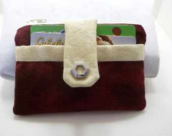 Red/Maroon and Cream Print Fabric Wallet