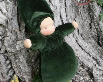 Waldorf Doll - Babies First Doll - Emerald Green - Waldorfdoll - Waldorf Toy - Handmade - Waldorf Bunting Baby - Baby Toy