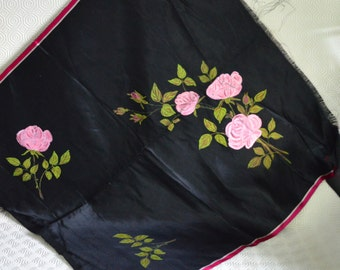 """1930s Hand Painted Black Satin Material Panel - Pink Roses Design - 22 x 22"""" Square - 1 of 3 different patterns - Buy 2 Get 3rd FREE Offer"""