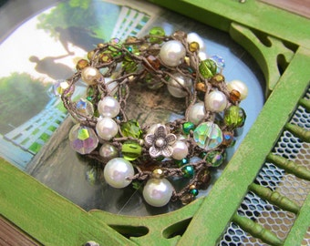 Lilly of the valley wrap bracelet