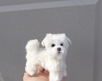 Custom Handmade Pet Portrait Sculpture / Needle Felted Dog by Artist GERRY / Maltese Puppy Mei Mei / Lifelike Poseable