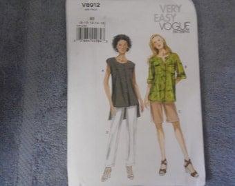 Vogue Misses Top/Pants/Shorts Sz 8-16   V8912   Uncut