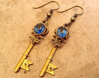 Fleur De Key Steampunk Earrings