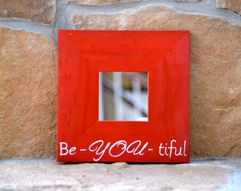 10x10 inch Mirror with Quote, Cinnamon Red