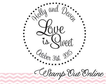 """Love is sweet 2x2"""" stamp great for DIY personalized candy buffet bags for wedding favors --13020-CB17-000"""