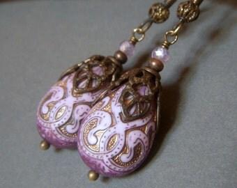 Etched Lavender Earrings, Brass Teardrop, Etched Carved Lucite Teardrop Dangle, Vintage Inspired Boho Lavender Earrings