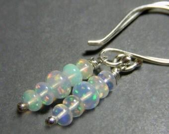 Genuine Opal Earrings Sterling Silver Petite Gem Opals, Real Opal Earrings Fiery Flashy Ethiopian Welo Opal Gemstone Stacked Rondelle Dangle