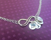 Personalized Infinity Necklace Up to FOUR initials of choice,Sterling Silver Mother's Necklace,Friendship Necklace Gift,Sideways Infinity
