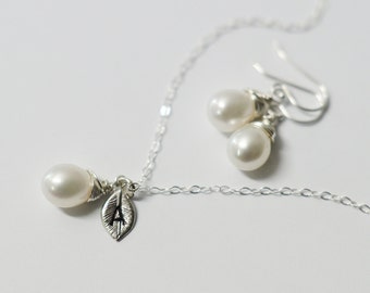 Bridal Pearl Set, Sterling Silver Necklace & Earring Set,Fresh Water Pearls Wedding Jewelry, Personalized Bridesmaids Gifts, June Birthstone