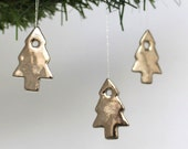 Three Little Silver Platinum Porcelain Christmas Trees, Ornament, Decoration, Real Platinum Lustre