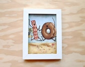 Bacon and Donuts Beach Vacation - 5x7 Print - Bacon Painting