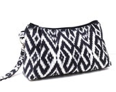 Clutch Purse Rectangle Wristlet - Ikat in Charcoal Gray Black and White
