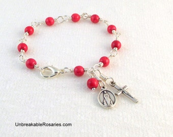 Virgin of Lourdes Rosary Bracelet in Pink Magnesite Wire Wrapped by Unbreakable Rosaries