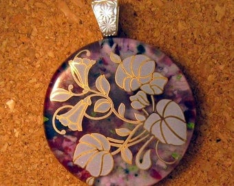 Fused Glass Pendant - Fused Glass Jewelry - Flower Pendant - Image Pendant - Decal Pendant - Glass Pendant - Glass Jewelry.