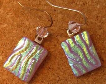 Dichroic Earrings Swarovski Crystal Earrings Fused Glass Earrings Dichroic Jewelry Pink Earrings Fused Glass Jewelry