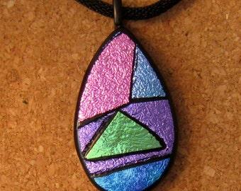 Dichroic Glass Pendant Picasso Pendant Fused Glass Pendant Dichroic Jewelry Fused Glass Jewelry