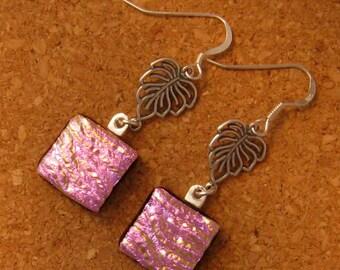 Pink Dichroic Earrings Fused Glass Earrings Fused Glass Jewelry Dichroic Jewelry Leaf Earrings