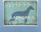 Whippet laundry company laundry room artwork giclee archival signed artists print by Stephen Fowler