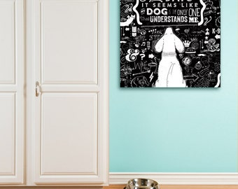 Some Days dog understanding inspirational art illustration graphic art on gallery wrapped canvas by stephen fowler