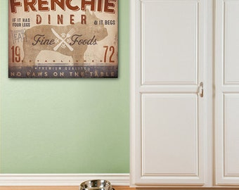 Frenchie French Bulldog Dog kitchen diner artwork on gallery wrapped canvas by Stephen Fowler Pick Your Breed