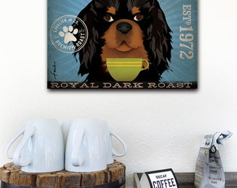 Cavalier King Charles Coffee Company original graphic art on gallery wrapped canvas Three COLOR OPTIONS