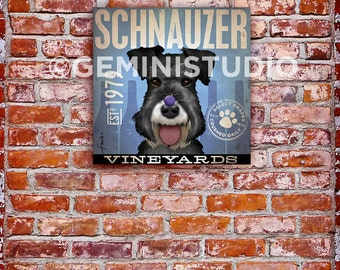 Schnauzer Wine company dog illustration graphic artwork on gallery wrapped canvas by stephen fowler