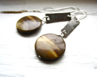 Mother of Pearl Earrings, Handmade Metalwork Brown Mother of Pearl Earrings, Mother of Pearl Dangle Drop Earrings