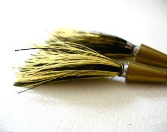 Tassel Earrings, Black Yellow Long Tassel Earrings, Tassel Jewelry, Tribal Jewelry, Handmade Tassel Earrings