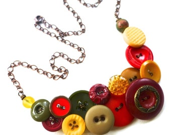 Tuscan Colors Vintage Button Statement Necklace