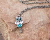 Turquoise Owl Pendant Necklace with Silver Chain