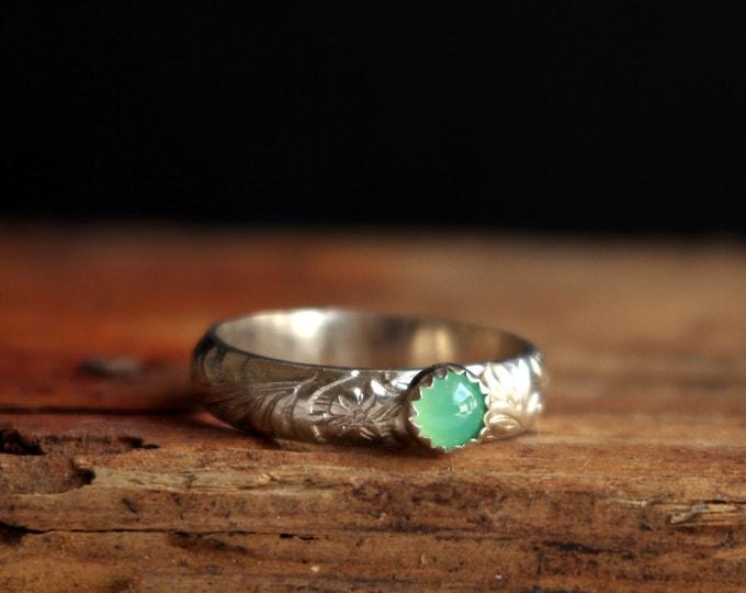 Chrysoprase Silver Ring Gemstone Ring May Birthstone Ring Promise Ring Stack Ring Taurus