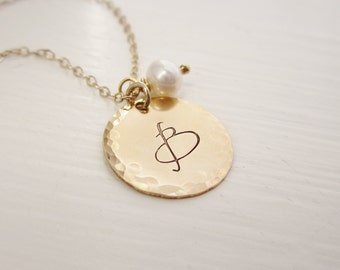 Gold initial necklace, charm necklace, gold initial charm, personalized gold necklace, custom initial, freshwater pearl, pearl necklace