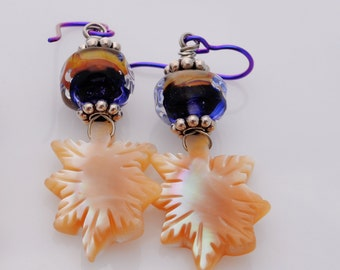 Berry Purple and Cream Earrings - Blueberry and Cream - Purple lampwork with Mother of Pearl leaves