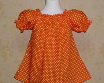 Orange Polka Dots Peasant Top 12M   To 7, Girl Top, Little Girl top, Tunic, Blouse, Orange Top For Girl