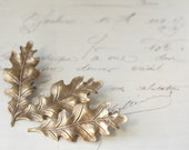 Brass oak leaf bridal barrettes antique Victorian autumn hair accessory wedding bridesmaid