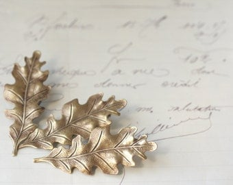 Brass oak leaf bridal barrettes antique Victorian autumn hair accessory wedding bridesmaid