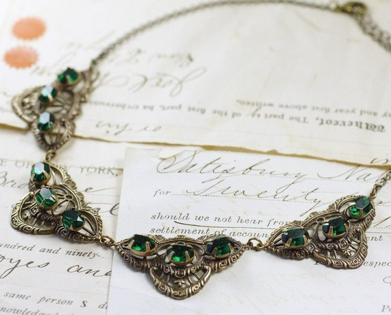 Emerald necklace crystal filigree brass green jewels collar rhinestone gem antique style vintage bridal jewelry bronze