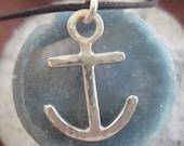 Home...silver anchor necklace